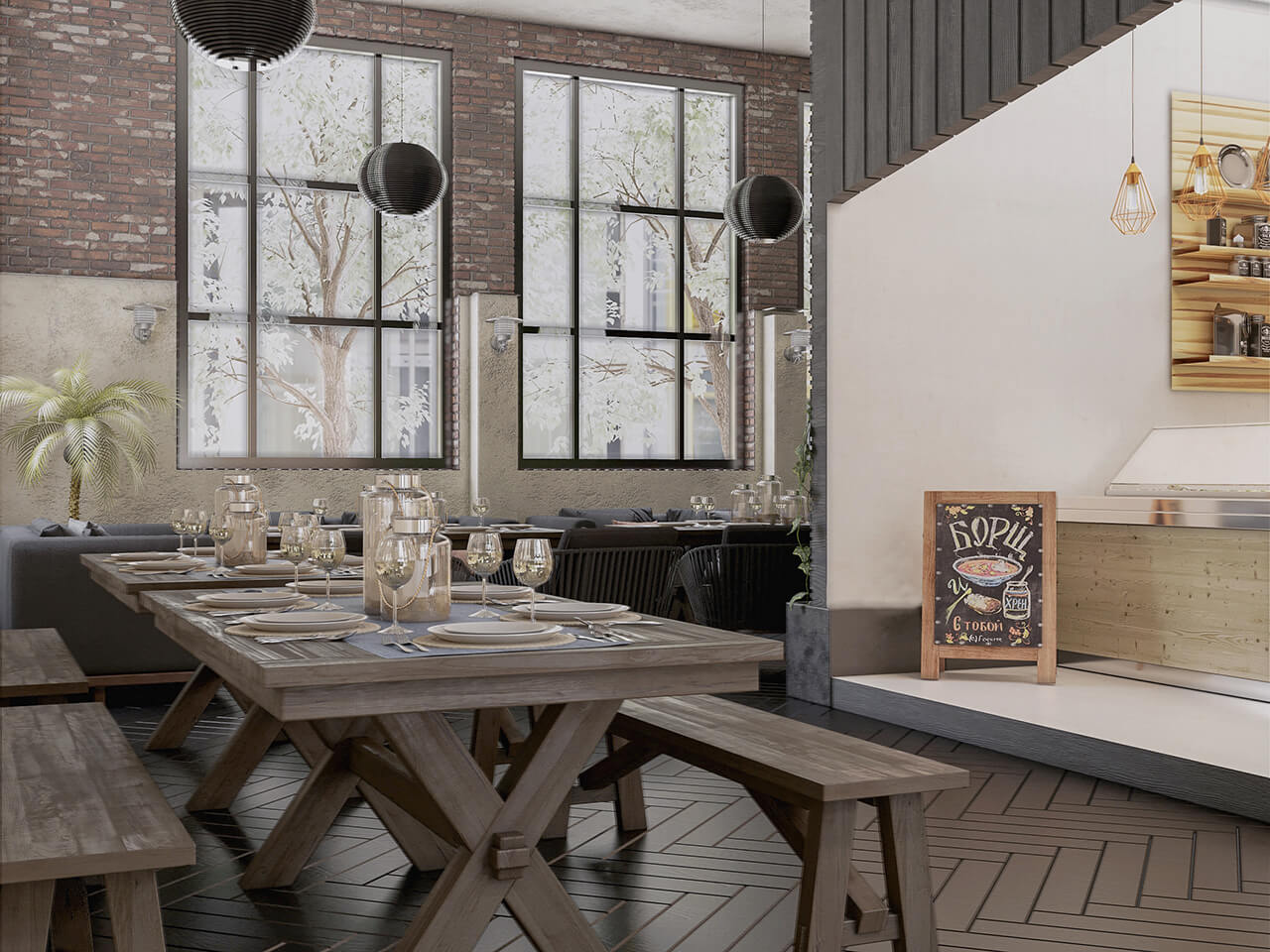 The Interior Design Of A Rustic Caf 233 And Restaurant
