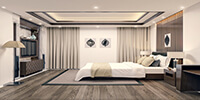 interior space of a modern bedroom with wood and carpet flooring and bright color bed