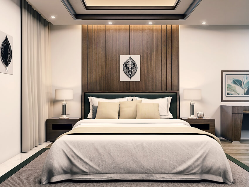 white color bed with two side tables and table lamps in a modern bedroom with wooden wall