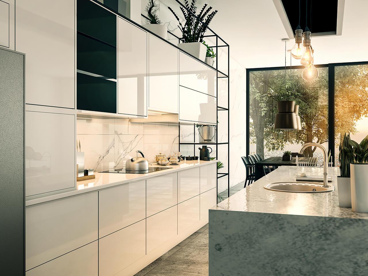 natural uno white high gloss kitchen design interior | The Interior Design of High Gloss Contemporary Kitchen