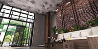 interior space of a café witch triangulated concrete ceiling and brick wall