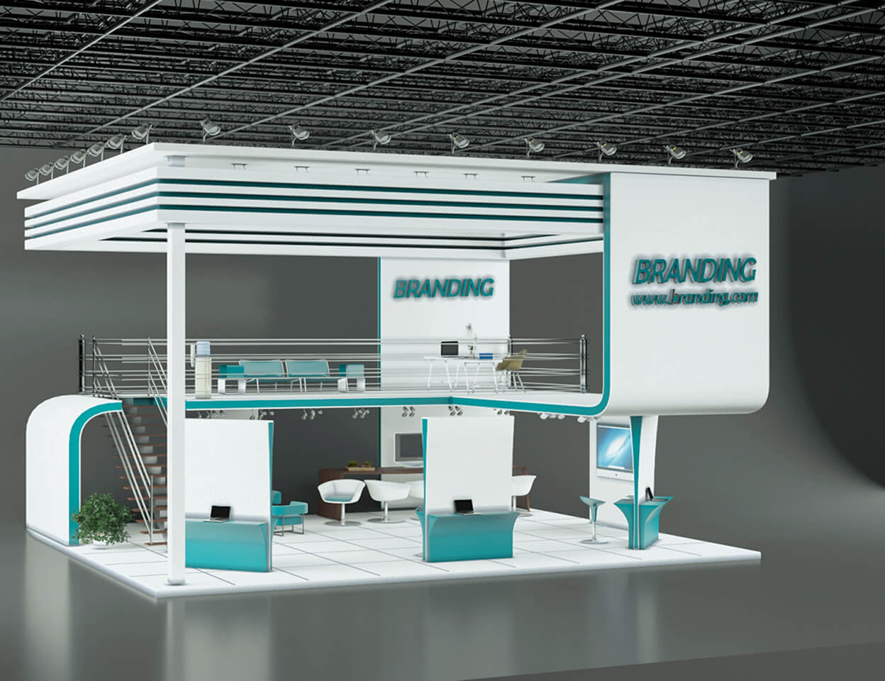 Modern Exhibition Stand Near Me : Two story exhibition stand design